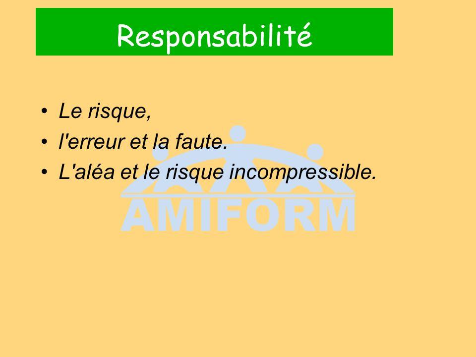 Responsabilité Le risque, l erreur et la faute. L aléa et le risque incompressible.
