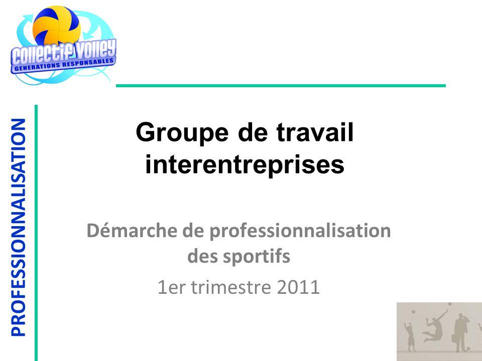 PROFESSIONNALISATION Groupe de travail interentreprises Démarche de professionnalisation des sportifs 1er trimestre 2011