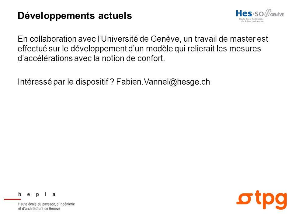 Développements actuels En collaboration avec lUniversité de Genève, un travail de master est effectué sur le développement dun modèle qui relierait le
