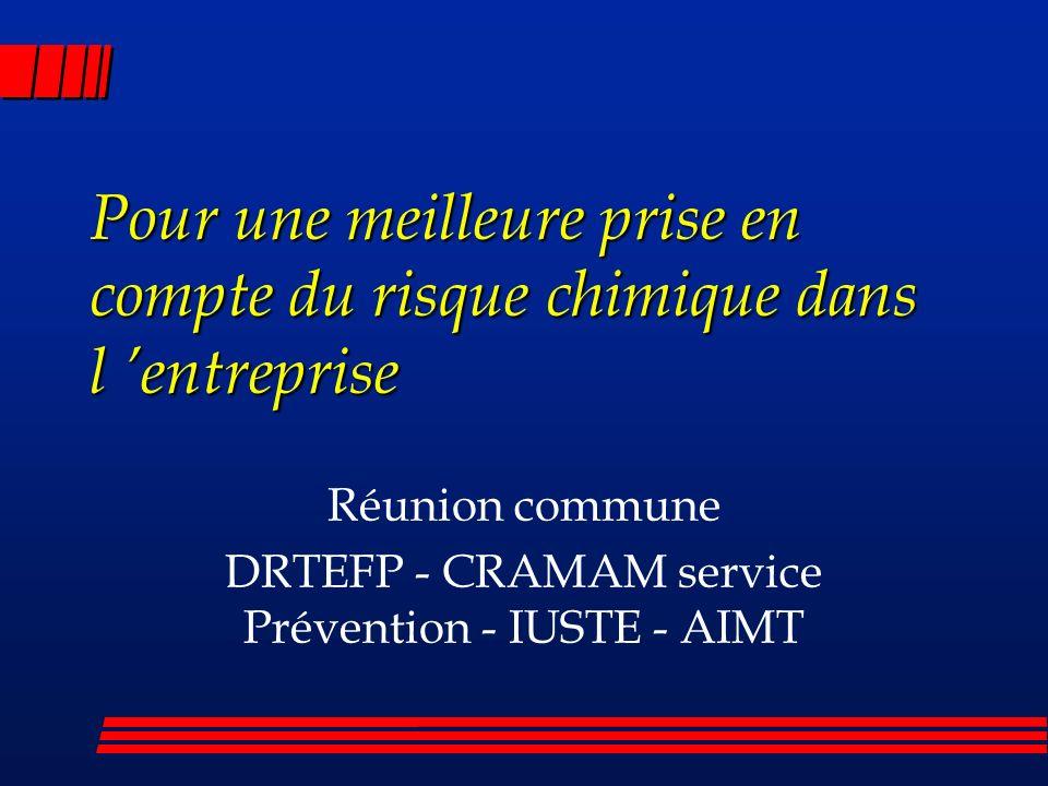 Pour une meilleure prise en compte du risque chimique dans l entreprise Réunion commune DRTEFP - CRAMAM service Prévention - IUSTE - AIMT