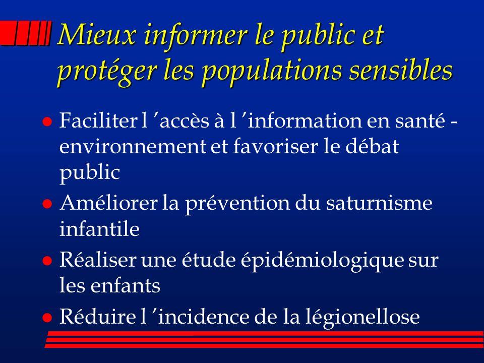 Mieux informer le public et protéger les populations sensibles l Faciliter l accès à l information en santé - environnement et favoriser le débat publ