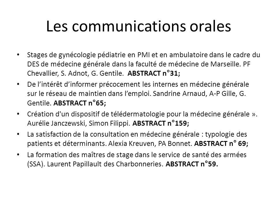 Les communications orales Stages de gynécologie pédiatrie en PMI et en ambulatoire dans le cadre du DES de médecine générale dans la faculté de médeci