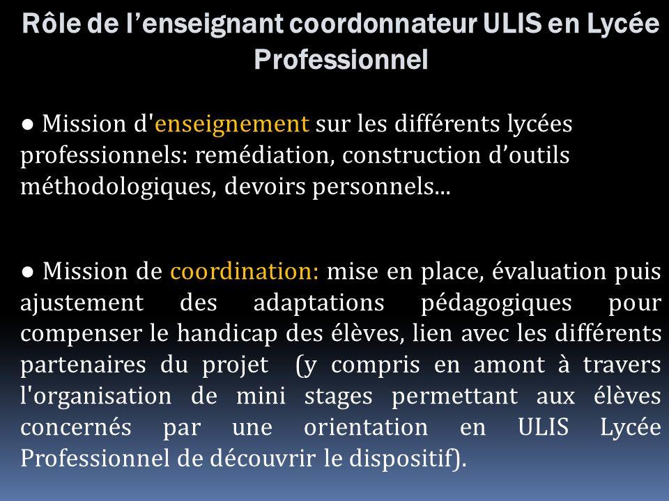 Rôle de lenseignant coordonnateur ULIS en Lycée Professionnel Mission d'enseignement sur les différents lycées professionnels: remédiation, constructi