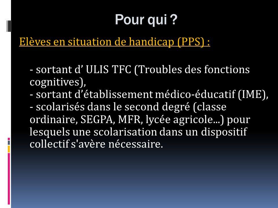 Pour qui ? Elèves en situation de handicap (PPS) : - sortant d ULIS TFC (Troubles des fonctions cognitives), - sortant détablissement médico-éducatif
