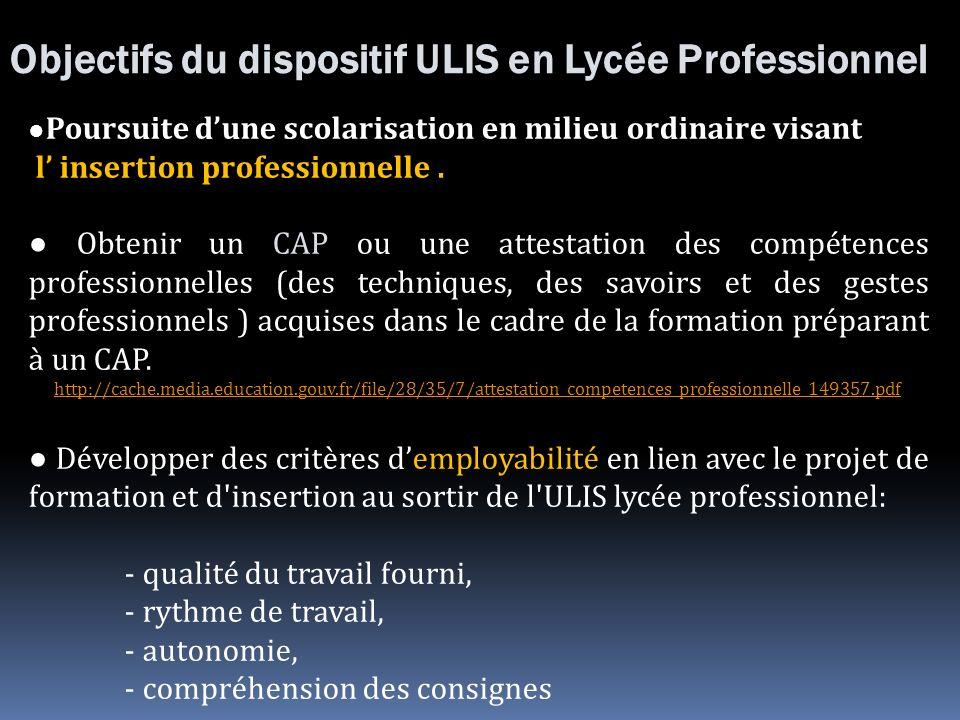 Objectifs du dispositif ULIS en Lycée Professionnel Poursuite dune scolarisation en milieu ordinaire visant l insertion professionnelle. Obtenir un CA