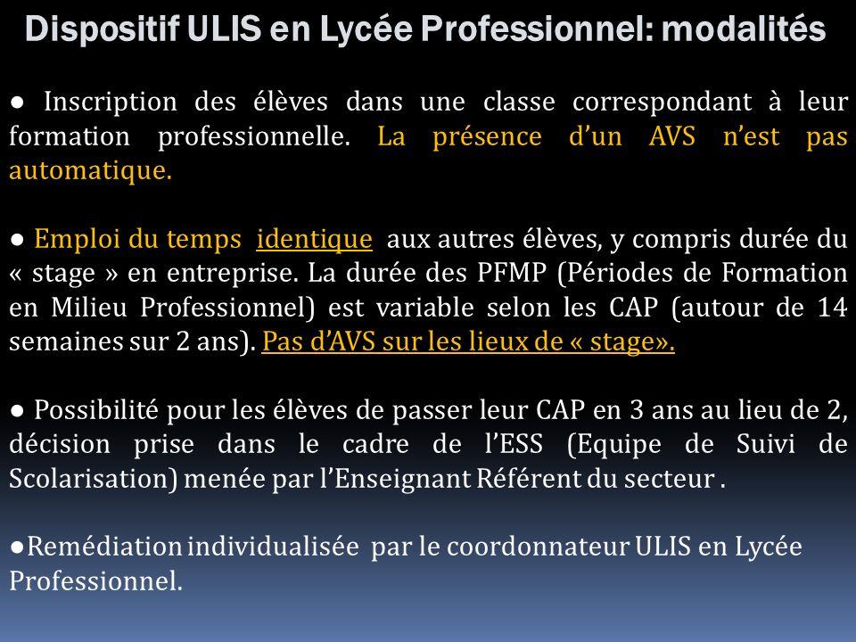 Dispositif ULIS en Lycée Professionnel: modalités Inscription des élèves dans une classe correspondant à leur formation professionnelle. La présence d