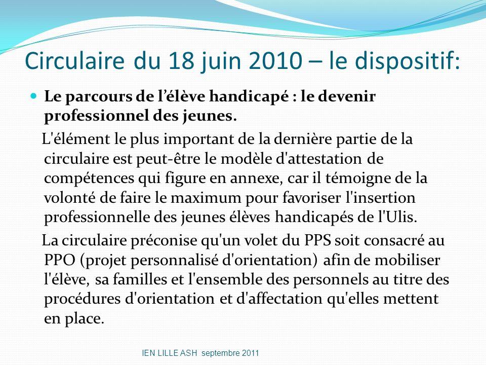 Circulaire du 18 juin 2010 – le dispositif: Le parcours de lélève handicapé : le devenir professionnel des jeunes. L'élément le plus important de la d