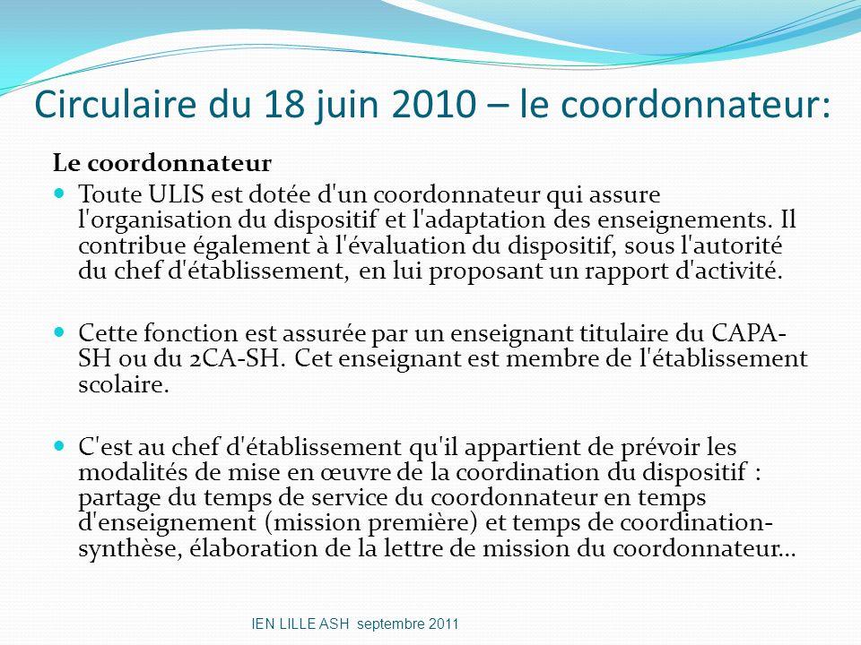 Circulaire du 18 juin 2010 – le coordonnateur: Le coordonnateur Toute ULIS est dotée d'un coordonnateur qui assure l'organisation du dispositif et l'a