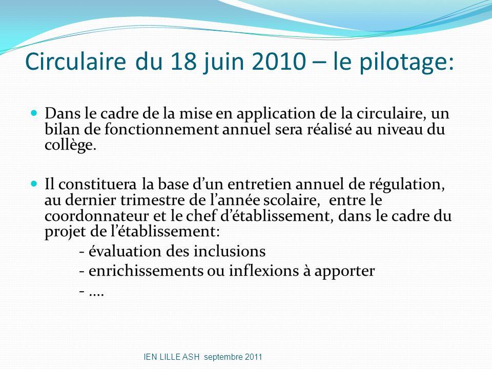 Circulaire du 18 juin 2010 – le pilotage: Dans le cadre de la mise en application de la circulaire, un bilan de fonctionnement annuel sera réalisé au