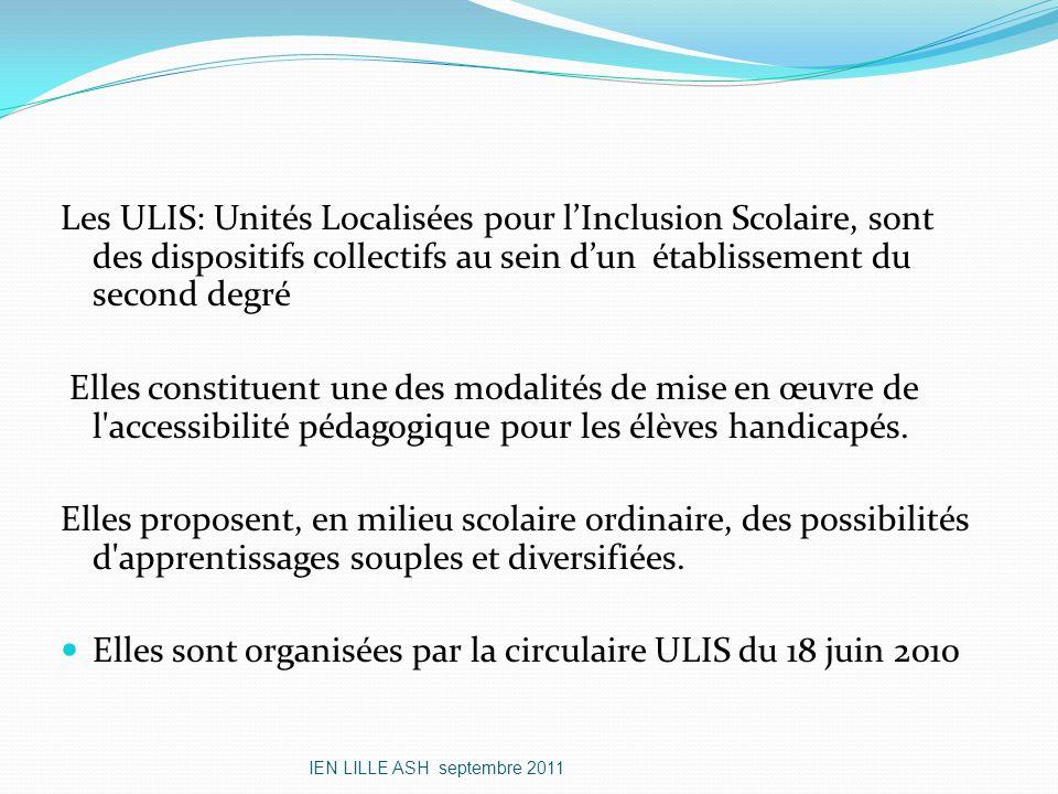 Les ULIS: Unités Localisées pour lInclusion Scolaire, sont des dispositifs collectifs au sein dun établissement du second degré Elles constituent une