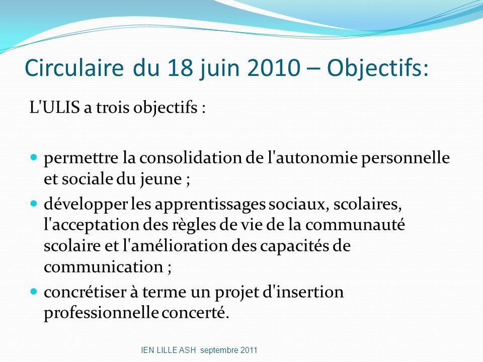 Circulaire du 18 juin 2010 – Objectifs: L'ULIS a trois objectifs : permettre la consolidation de l'autonomie personnelle et sociale du jeune ; dévelop