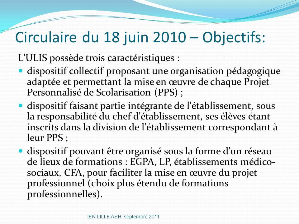 Circulaire du 18 juin 2010 – Objectifs: L'ULIS possède trois caractéristiques : dispositif collectif proposant une organisation pédagogique adaptée et