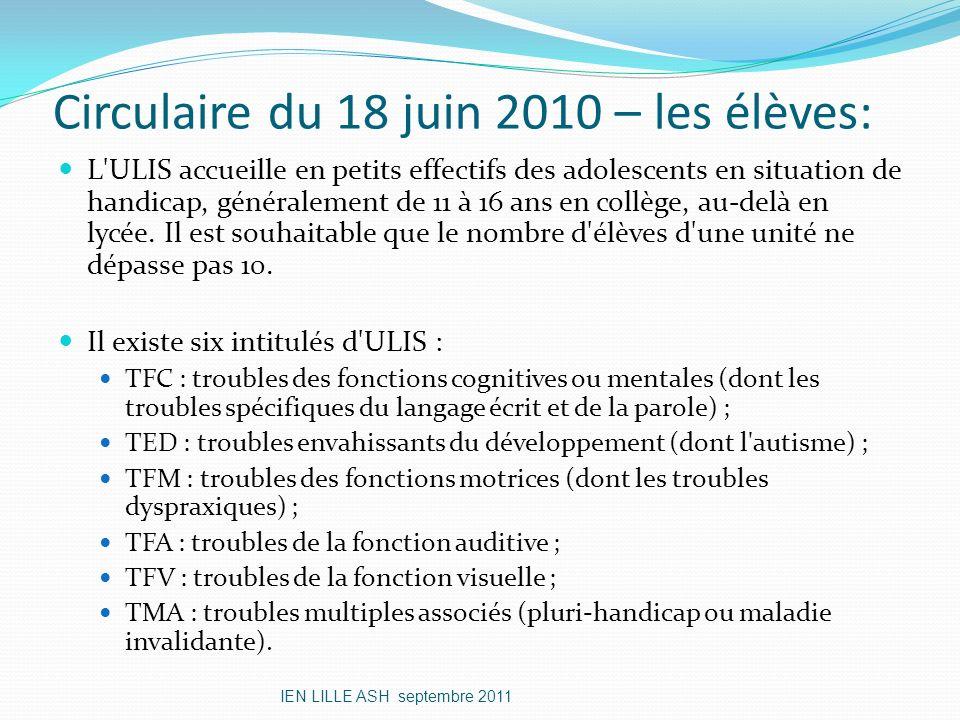 Circulaire du 18 juin 2010 – les élèves: L'ULIS accueille en petits effectifs des adolescents en situation de handicap, généralement de 11 à 16 ans en