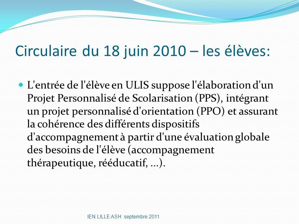 Circulaire du 18 juin 2010 – les élèves: L'entrée de l'élève en ULIS suppose l'élaboration d'un Projet Personnalisé de Scolarisation (PPS), intégrant