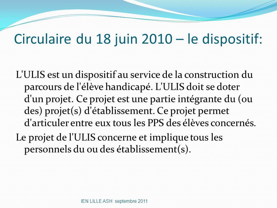 Circulaire du 18 juin 2010 – le dispositif: L'ULIS est un dispositif au service de la construction du parcours de l'élève handicapé. L'ULIS doit se do