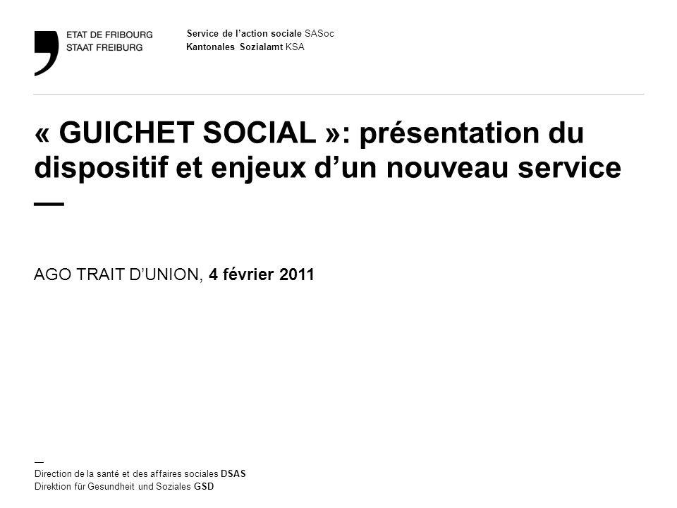 Service de laction sociale SASoc Kantonales Sozialamt KSA Direction de la santé et des affaires sociales DSAS Direktion für Gesundheit und Soziales GS