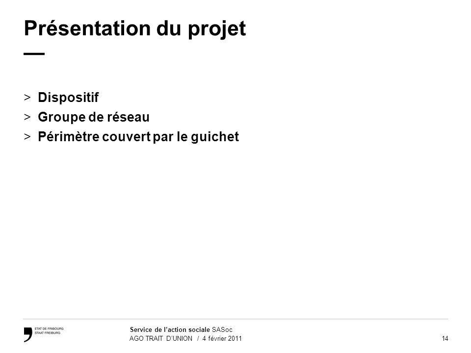 14 Service de laction sociale SASoc AGO TRAIT DUNION / 4 février 2011 Présentation du projet >Dispositif >Groupe de réseau >Périmètre couvert par le g