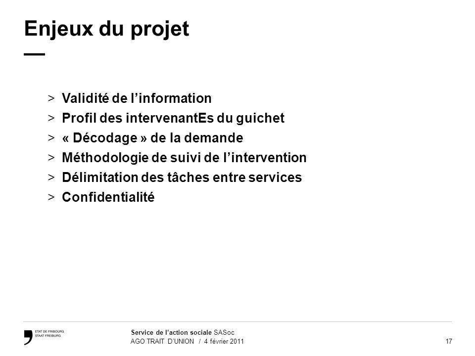 17 Service de laction sociale SASoc AGO TRAIT DUNION / 4 février 2011 Enjeux du projet >Validité de linformation >Profil des intervenantEs du guichet