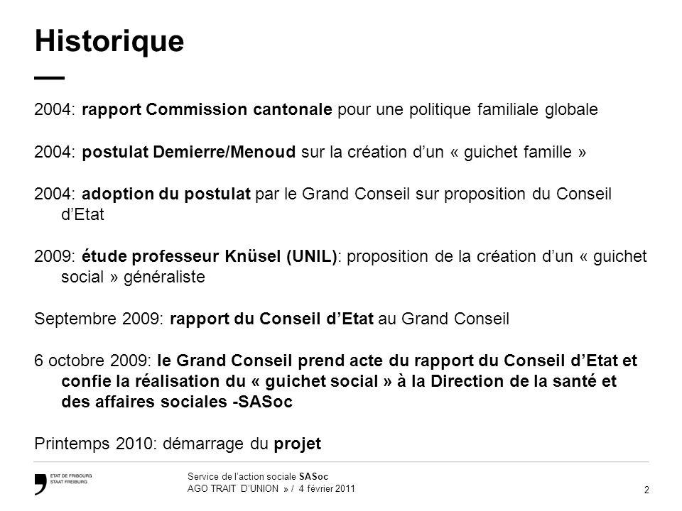 2 Service de laction sociale SASoc AGO TRAIT DUNION » / 4 février 2011 Historique 2004: rapport Commission cantonale pour une politique familiale glob