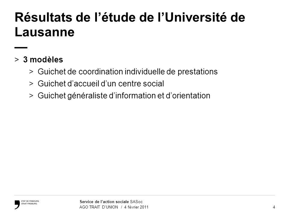 4 Service de laction sociale SASoc AGO TRAIT DUNION / 4 février 2011 Résultats de létude de lUniversité de Lausanne >3 modèles>3 >Guichet de coordinat