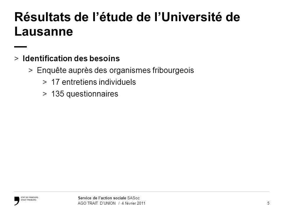 5 Service de laction sociale SASoc AGO TRAIT DUNION / 4 février 2011 Résultats de létude de lUniversité de Lausanne >Identification des besoins >Enquê