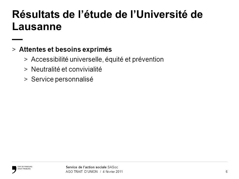 6 Service de laction sociale SASoc AGO TRAIT DUNION / 4 février 2011 Résultats de létude de lUniversité de Lausanne >Attentes et besoins exprimés >Acc