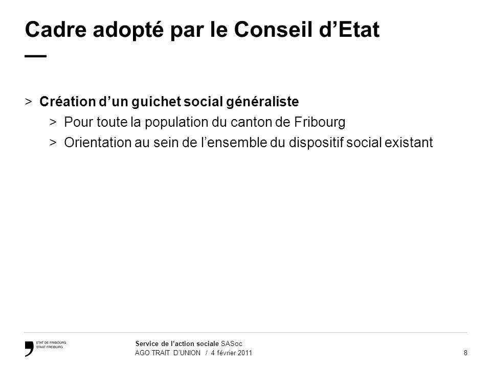 8 Service de laction sociale SASoc AGO TRAIT DUNION / 4 février 2011 Cadre adopté par le Conseil dEtat >Création dun guichet social généraliste >Pour