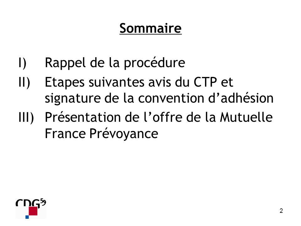 2 Sommaire I)Rappel de la procédure II)Etapes suivantes avis du CTP et signature de la convention dadhésion III)Présentation de loffre de la Mutuelle