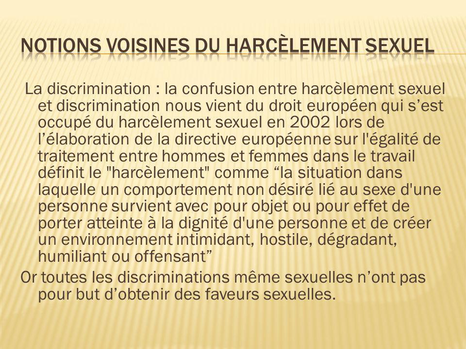 La discrimination : la confusion entre harcèlement sexuel et discrimination nous vient du droit européen qui sest occupé du harcèlement sexuel en 2002