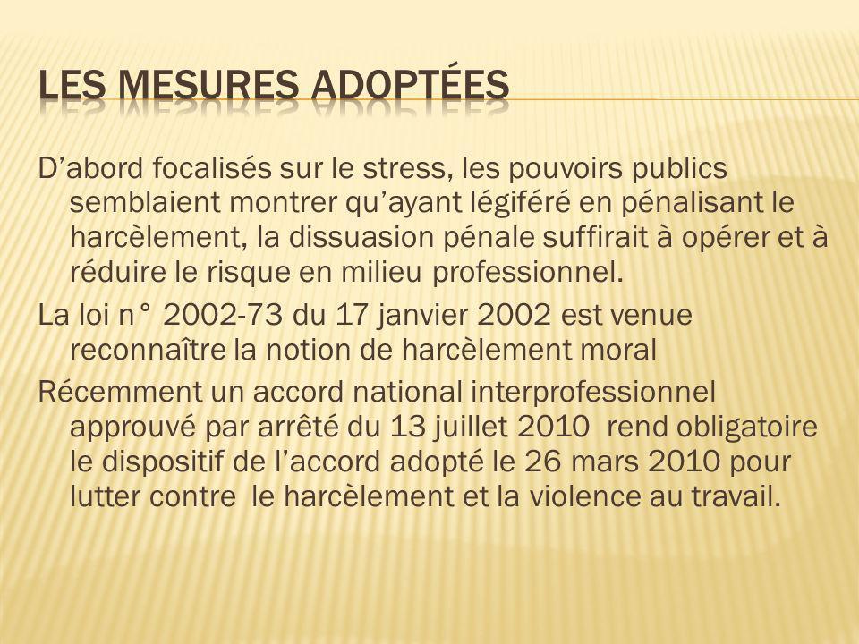 Dabord focalisés sur le stress, les pouvoirs publics semblaient montrer quayant légiféré en pénalisant le harcèlement, la dissuasion pénale suffirait