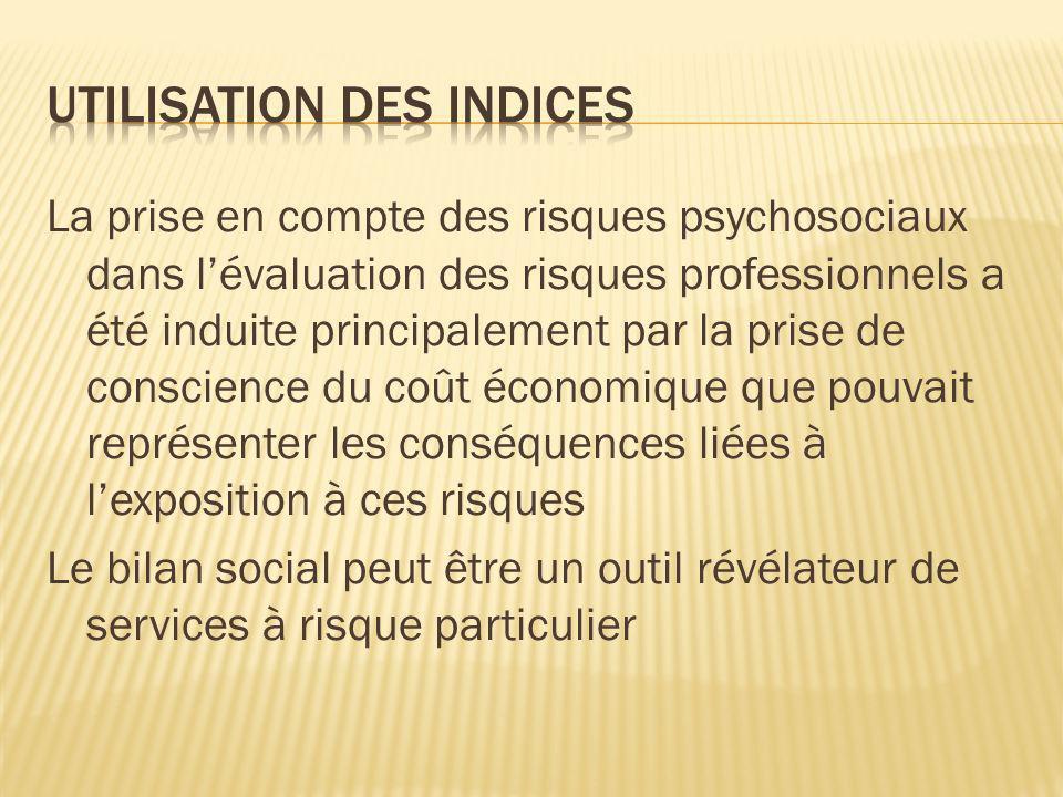 La prise en compte des risques psychosociaux dans lévaluation des risques professionnels a été induite principalement par la prise de conscience du co