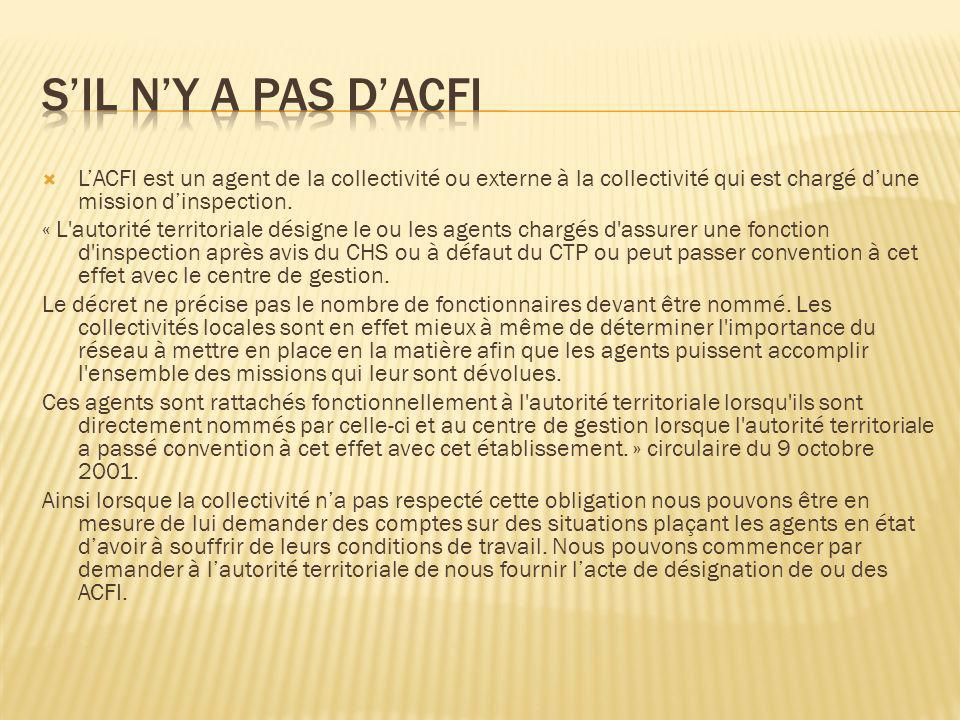 LACFI est un agent de la collectivité ou externe à la collectivité qui est chargé dune mission dinspection. « L'autorité territoriale désigne le ou le