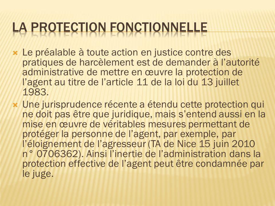 Le préalable à toute action en justice contre des pratiques de harcèlement est de demander à lautorité administrative de mettre en œuvre la protection