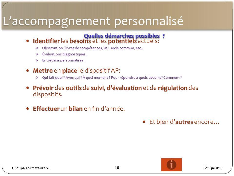 Laccompagnement personnalisé Identifierbesoinspotentiels Identifier les besoins et les potentiels actuels: Observation : livret de compétences, B2I, socle commun, etc..