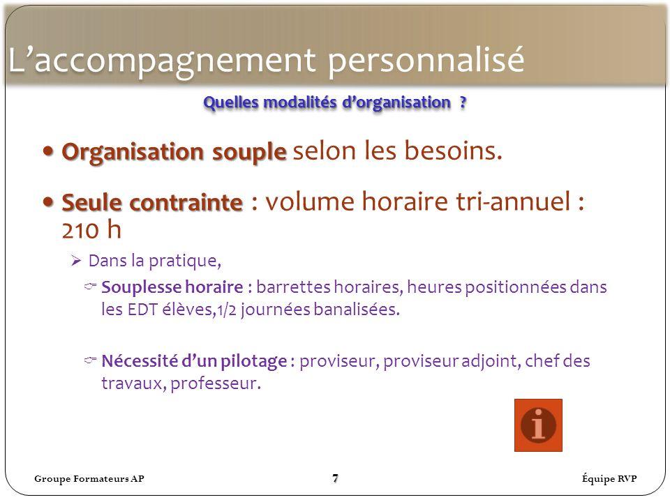 Laccompagnement personnalisé Organisationsouple Organisation souple selon les besoins.