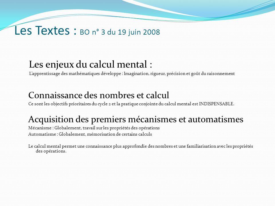 Les Textes : BO n° 3 du 19 juin 2008 Les enjeux du calcul mental : Lapprentissage des mathématiques développe : Imagination, rigueur, précision et goû