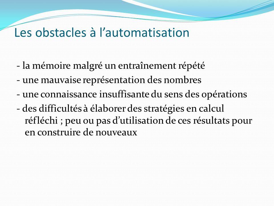 Les obstacles à lautomatisation - la mémoire malgré un entraînement répété - une mauvaise représentation des nombres - une connaissance insuffisante d