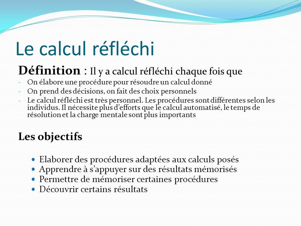 Le calcul réfléchi Définition : Il y a calcul réfléchi chaque fois que - On élabore une procédure pour résoudre un calcul donné - On prend des décisio