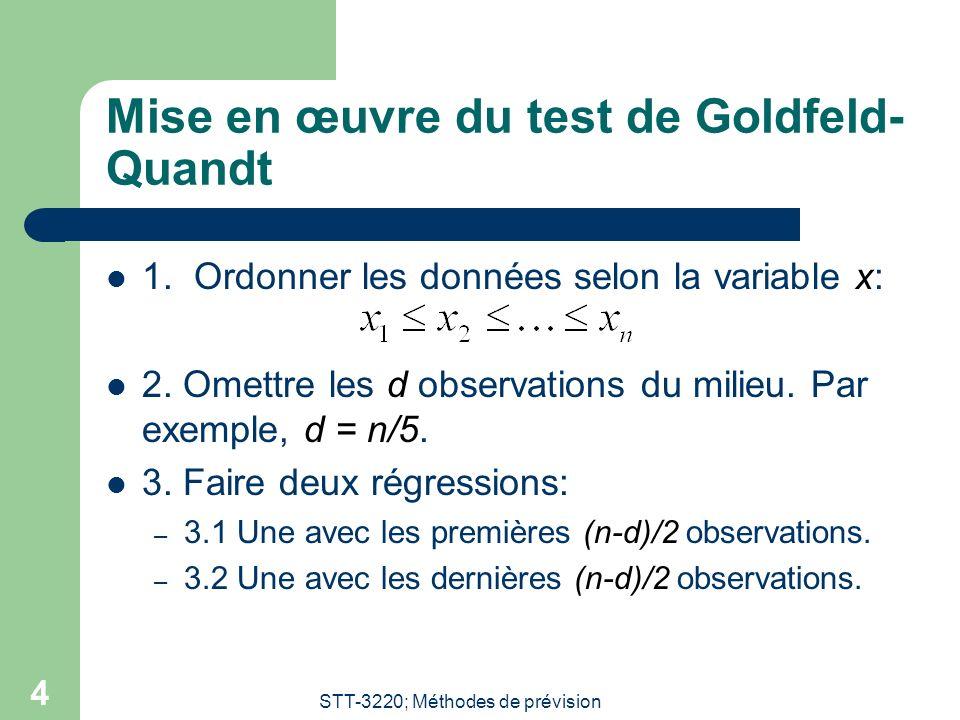 STT-3220; Méthodes de prévision 4 Mise en œuvre du test de Goldfeld- Quandt 1. Ordonner les données selon la variable x: 2. Omettre les d observations
