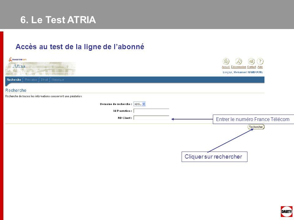 6. Le Test ATRIA Accès au test de la ligne de labonné Entrer le numéro France Télécom Cliquer sur rechercher