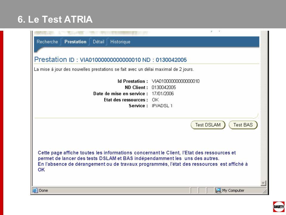 6. Le Test ATRIA Cette page affiche toutes les informations concernant le Client, lEtat des ressources et permet de lancer des tests DSLAM et BAS indé