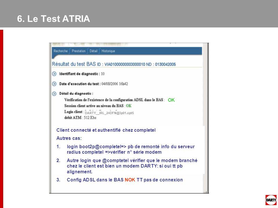 6. Le Test ATRIA OK Client connecté et authentifié chez completel Autres cas: 1.login boot2p@completel=> pb de remonté info du serveur radius complete