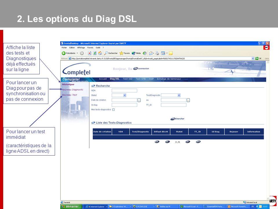 2. Les options du Diag DSL Affiche la liste des tests et Diagnostiques déjà effectués sur la ligne Pour lancer un Diag pour pas de synchronisation ou