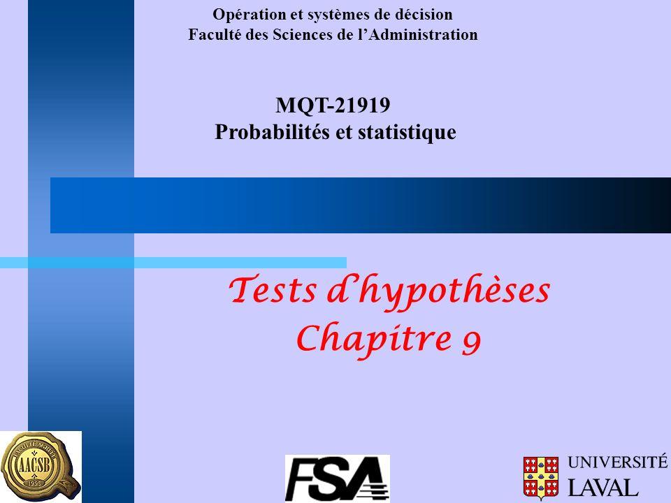 Opération et systèmes de décision Faculté des Sciences de lAdministration MQT-21919 Probabilités et statistique Tests dhypothèses Chapitre 9