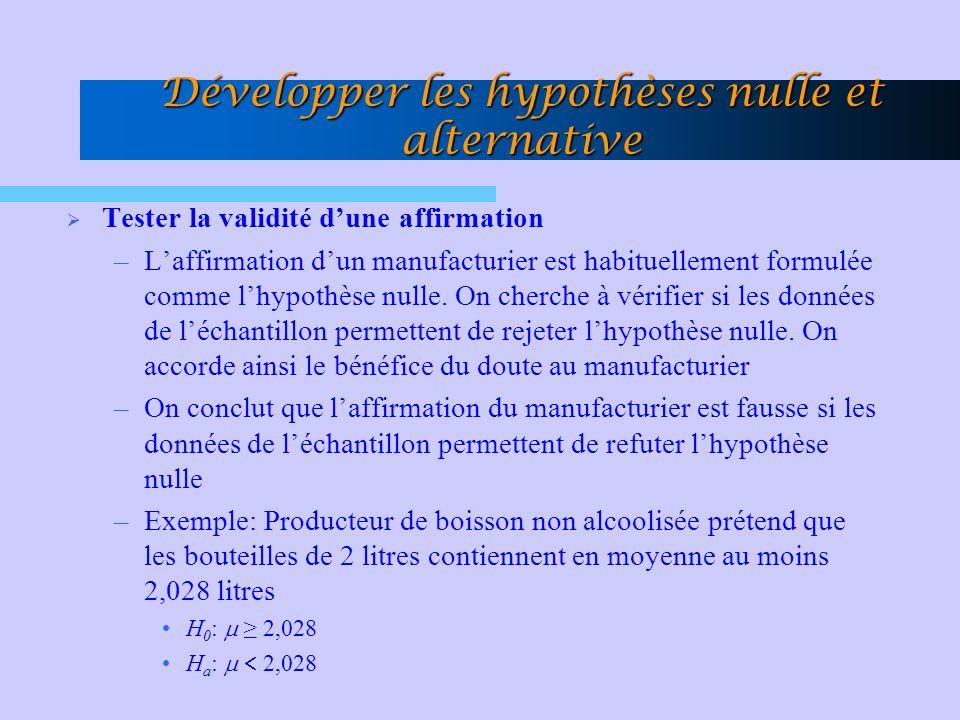 Développer les hypothèses nulle et alternative Tester la validité dune affirmation –Laffirmation dun manufacturier est habituellement formulée comme lhypothèse nulle.