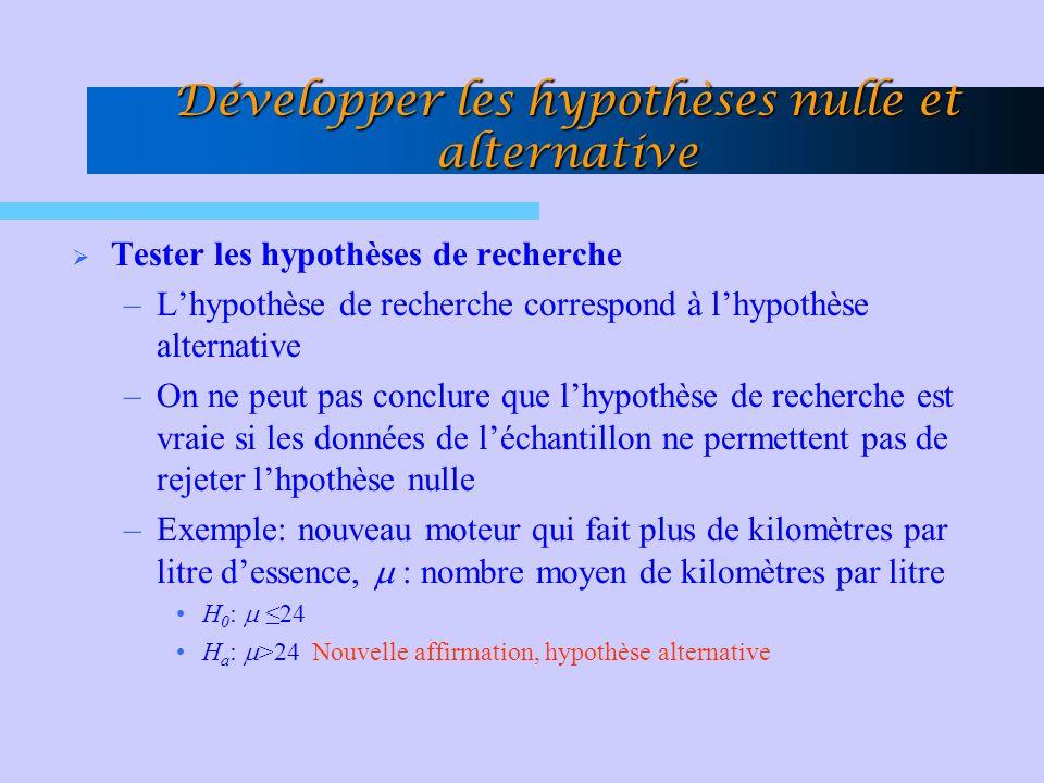 Développer les hypothèses nulle et alternative Tester les hypothèses de recherche –Lhypothèse de recherche correspond à lhypothèse alternative –On ne peut pas conclure que lhypothèse de recherche est vraie si les données de léchantillon ne permettent pas de rejeter lhpothèse nulle –Exemple: nouveau moteur qui fait plus de kilomètres par litre dessence, : nombre moyen de kilomètres par litre H 0 : 24 H a : >24 Nouvelle affirmation, hypothèse alternative