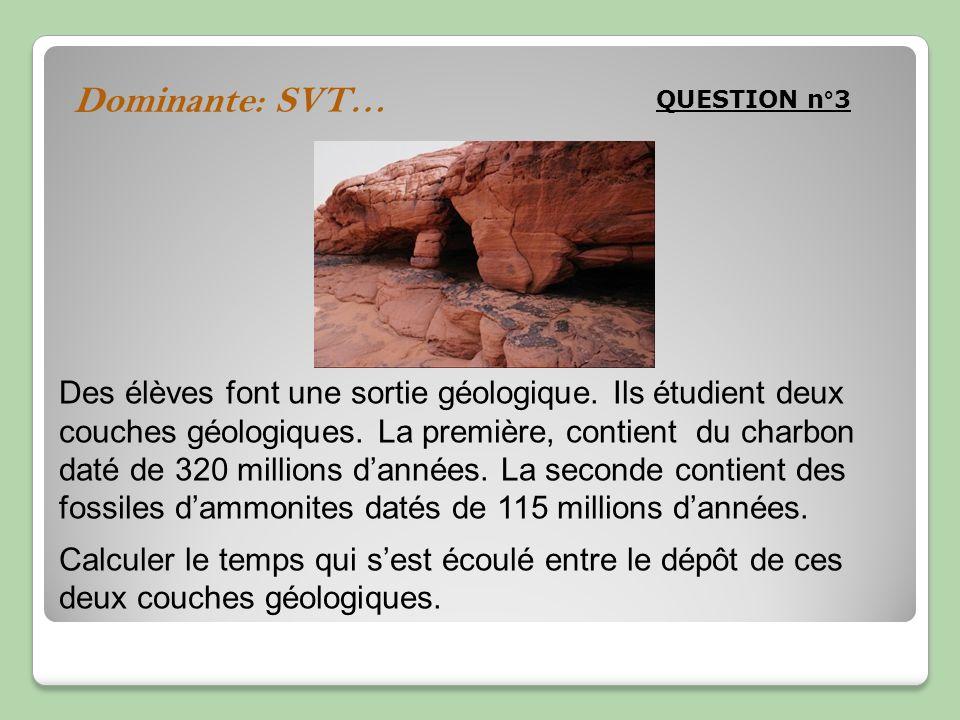 Dominante: SVT… QUESTION n°3 Des élèves font une sortie géologique. Ils étudient deux couches géologiques. La première, contient du charbon daté de 32
