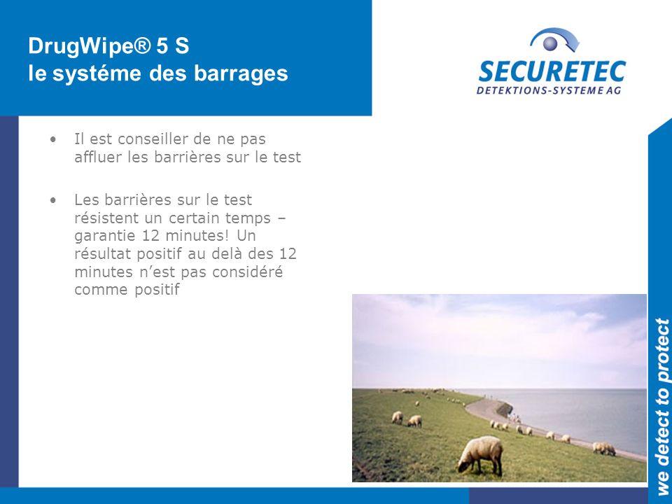 DrugWipe® 5 S le systéme des barrages Il est conseiller de ne pas affluer les barrières sur le test Les barrières sur le test résistent un certain temps – garantie 12 minutes.