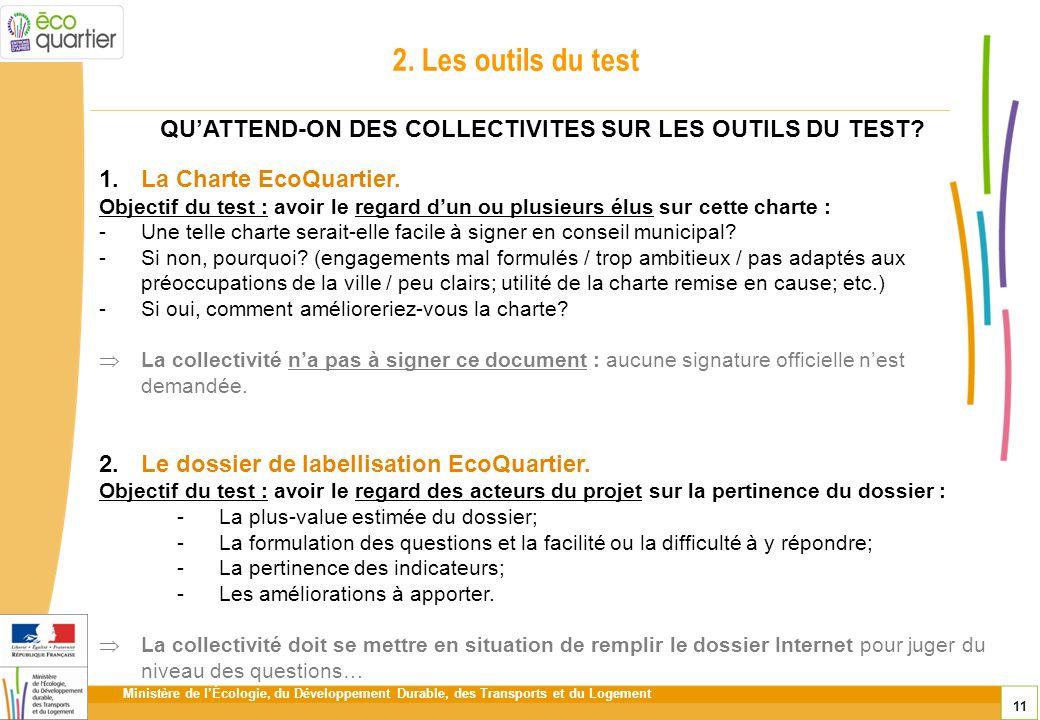 Ministère de lÉcologie, du Développement Durable, des Transports et du Logement 11 2. Les outils du test 1.La Charte EcoQuartier. Objectif du test : a