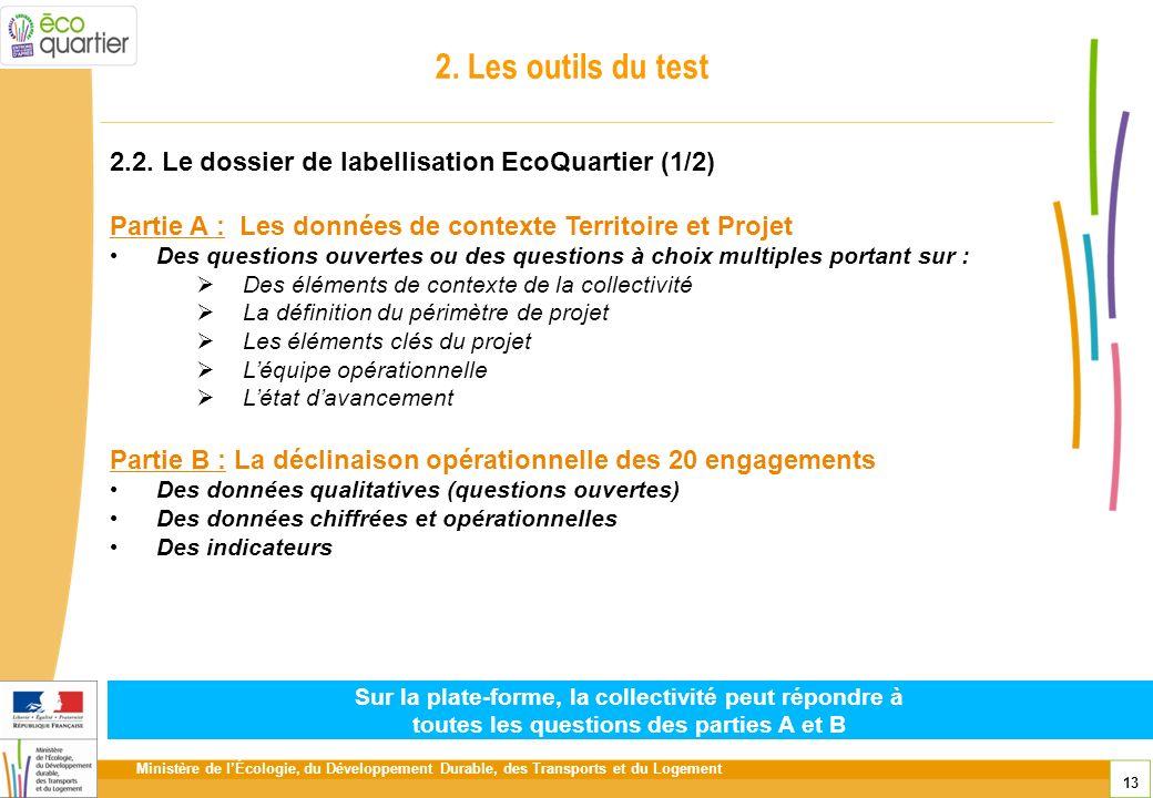 Ministère de lÉcologie, du Développement Durable, des Transports et du Logement 13 2. Les outils du test 2.2. Le dossier de labellisation EcoQuartier